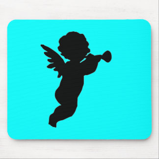 Black Cherub Silhouette On Colored Background Mouse Pad