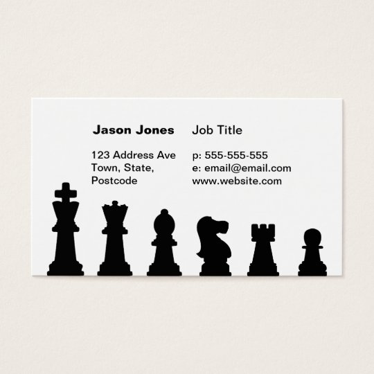 Black chess pieces on white business card