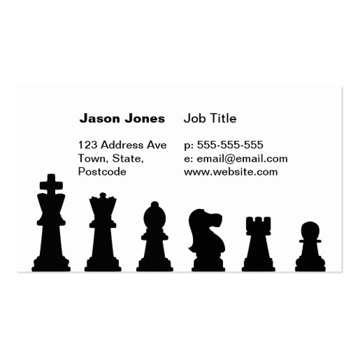 Black chess pieces on white business cards