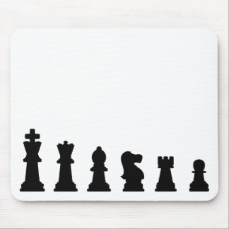 Black chess pieces on white mouse mat