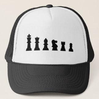 Black chess pieces on white trucker hat