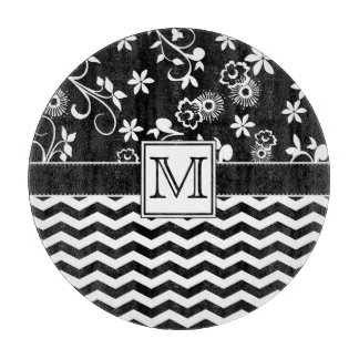 Black Chevron and Floral Monogram Cutting Board