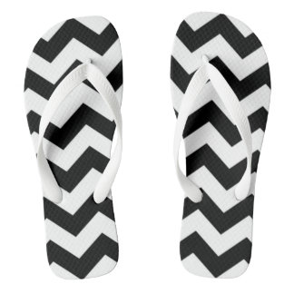 Black Chevron Flip Flops