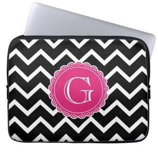 Black Chevron Hot Pink Monogram Laptop Sleeve