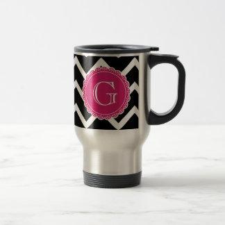 Black Chevron Hot Pink Monogram Stainless Steel Travel Mug