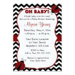 Black Chevron Ladybug Baby Shower Invite