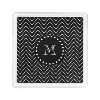 Black Chevron Pattern | Black Monogram Acrylic Tray