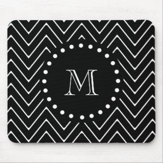 Black Chevron Pattern | Black Monogram Mouse Pad