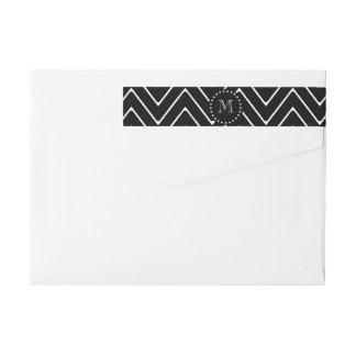 Black Chevron Pattern | Black Monogram Wrap Around Label