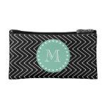 Black Chevron Pattern   Mint Green Monogram Makeup Bag