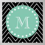 Black Chevron Pattern | Mint Green Monogram Poster