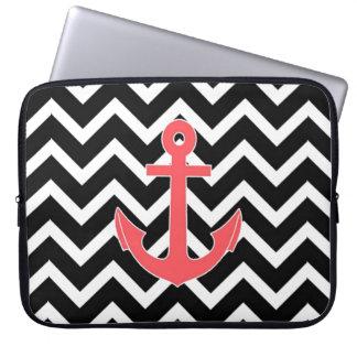 Black Chevron Pink Anchor Laptop Sleeve