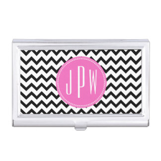Black Chevron Pink Monogram Business Card Holder