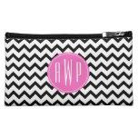 Black Chevron Pink Monogram Cosmetic Bags