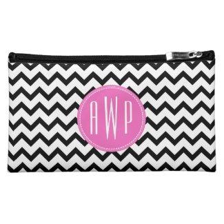 Black Chevron Pink Monogram Cosmetic Bag