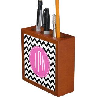 Black Chevron Pink Monogram Desk Organizer