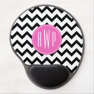 Black Chevron Pink Monogram Gel Mouse Pad