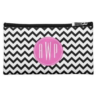 Black Chevron Pink Monogram Makeup Bag