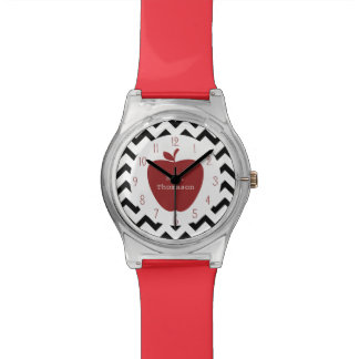 Black Chevron Red Apple Teacher Watch