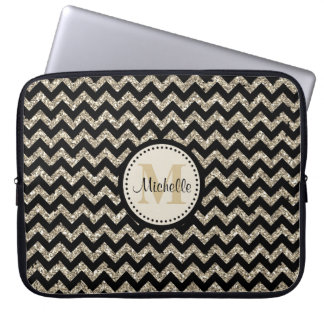 Black Chevron Silver Gold Faux Glitter Monogram Laptop Sleeve