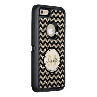 Black Chevron Silver Gold Monogram OtterBox Defender iPhone Case