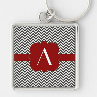 Black Chevron with Gold Trimmed Red Frame Key Chain