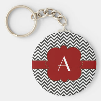 Black Chevron with Gold Trimmed Red Frame Keychains