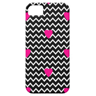 Black Chevron with Hot Pink Hearts Barely There iPhone 5 Case