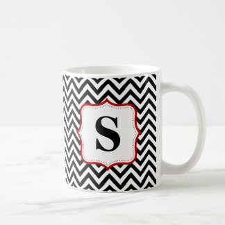 Black Chevron Zigzag Red Monogram Personalized Coffee Mug