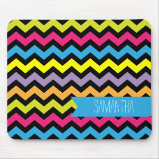 Black Chevron Zigzags with Bright Colors Mouse Pad