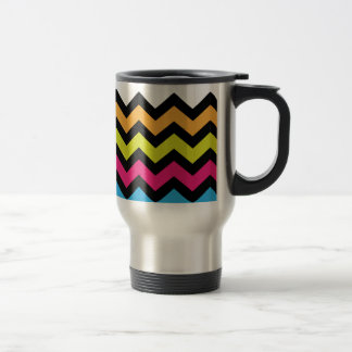 Black Chevron Zigzags with Bright Colors Travel Mug