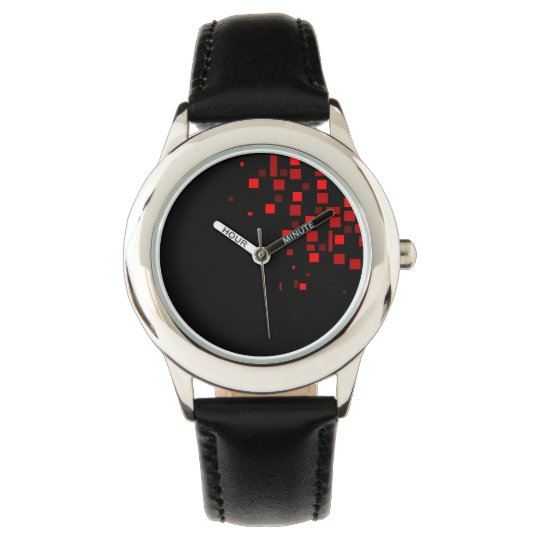 Black Chic Geometric Square Pattern Red Bold Cool Watch