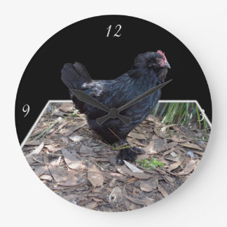 Black Chicken Pop Out,_Large Round Wall Clock
