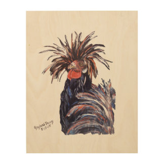 """Black Chicken"" Wood Wall Art Wood Print"