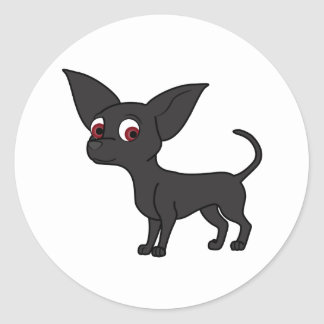 Black Chihuahua Round Sticker