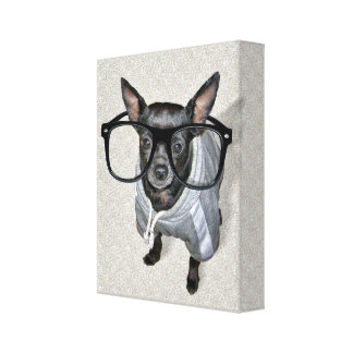 Black Chihuahua with Glasses Photo Gallery Wrapped Canvas