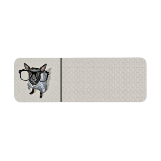 Black Chihuahua with Glasses Photo Return Address Label