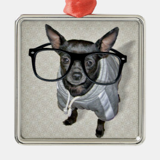 Black Chihuahua with Glasses Photo Silver-Colored Square Decoration