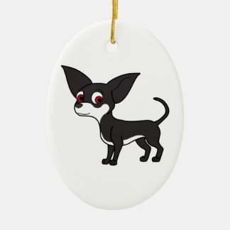 Black Chihuahua with White Markings Ceramic Oval Decoration