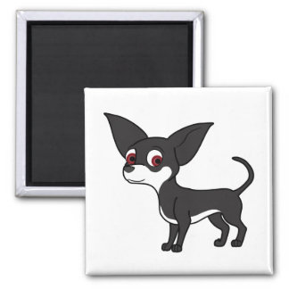 Black Chihuahua with White Markings Square Magnet