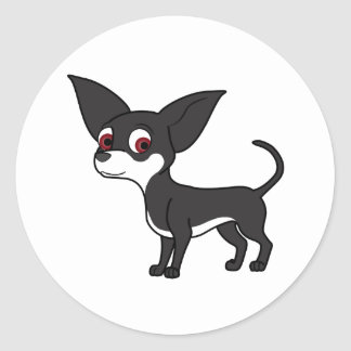 Black Chihuahua with White Markings Round Sticker