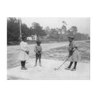 Black Children Playing Golf Photograph Canvas Print