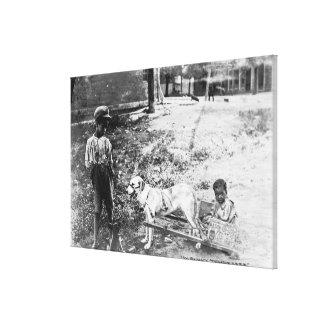 Black Children with Dog Drawn Cart Photograph Canvas Print