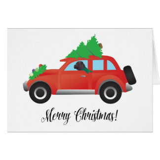 Black Chinese Shar-Pei Driving Christmas Car Greeting Card