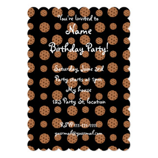 Black chocolate chip cookies pattern 13 cm x 18 cm invitation card