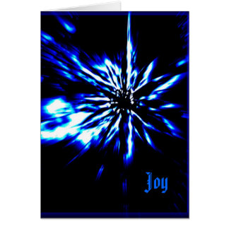 Black Christmas card bright blue & white star