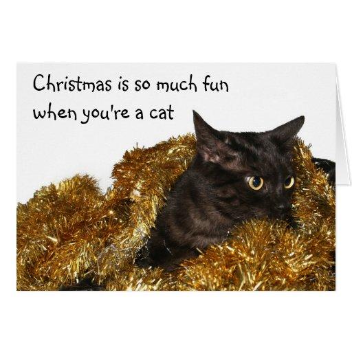 Black Christmas cat Greeting Cards