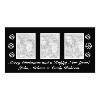 Black Christmas photo card template | three photos