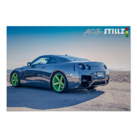 Black Chrome GTR On The Beach Poster