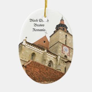 Black church in Brasov, Romania Ceramic Oval Decoration